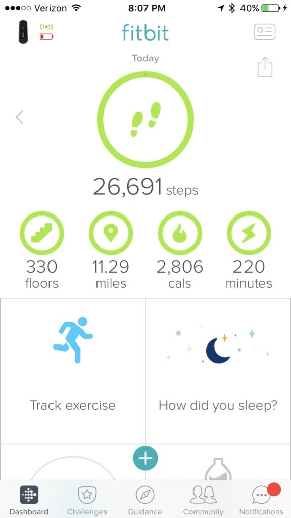 Fitbit stats for my Upper Yosemite Falls Trail hike.