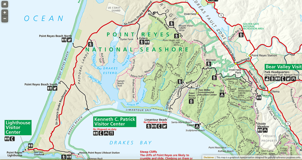 Map of Point Reyes National Seashore, California