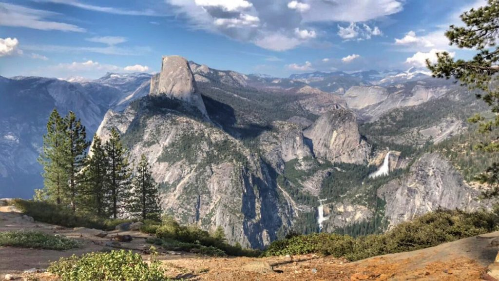 Vernal and Nevada Falls from Glacier Point in Yosemite National Park