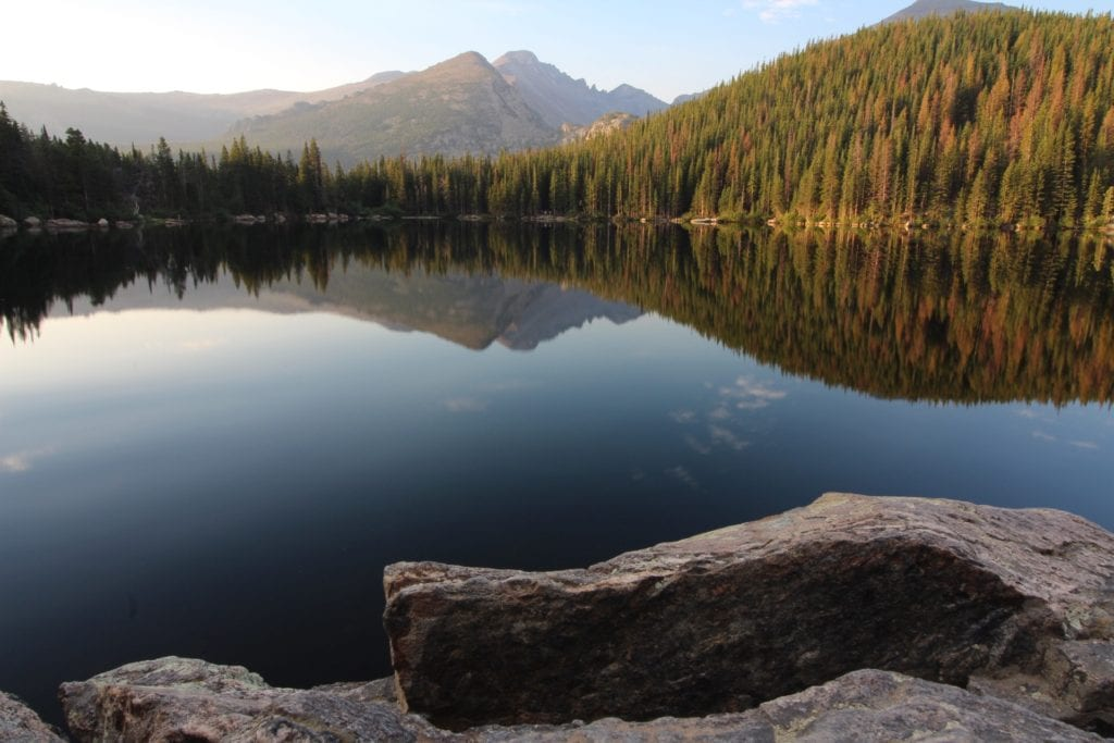 reflection of mountains in a lake