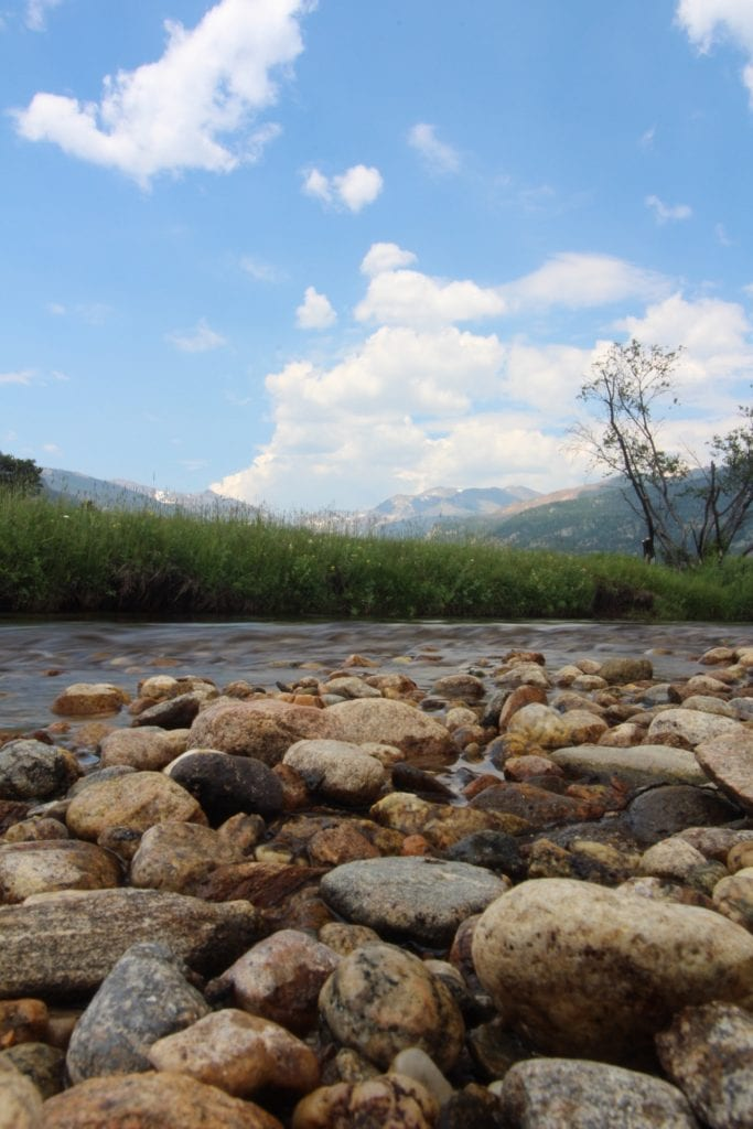 pebbles in creek in mountains