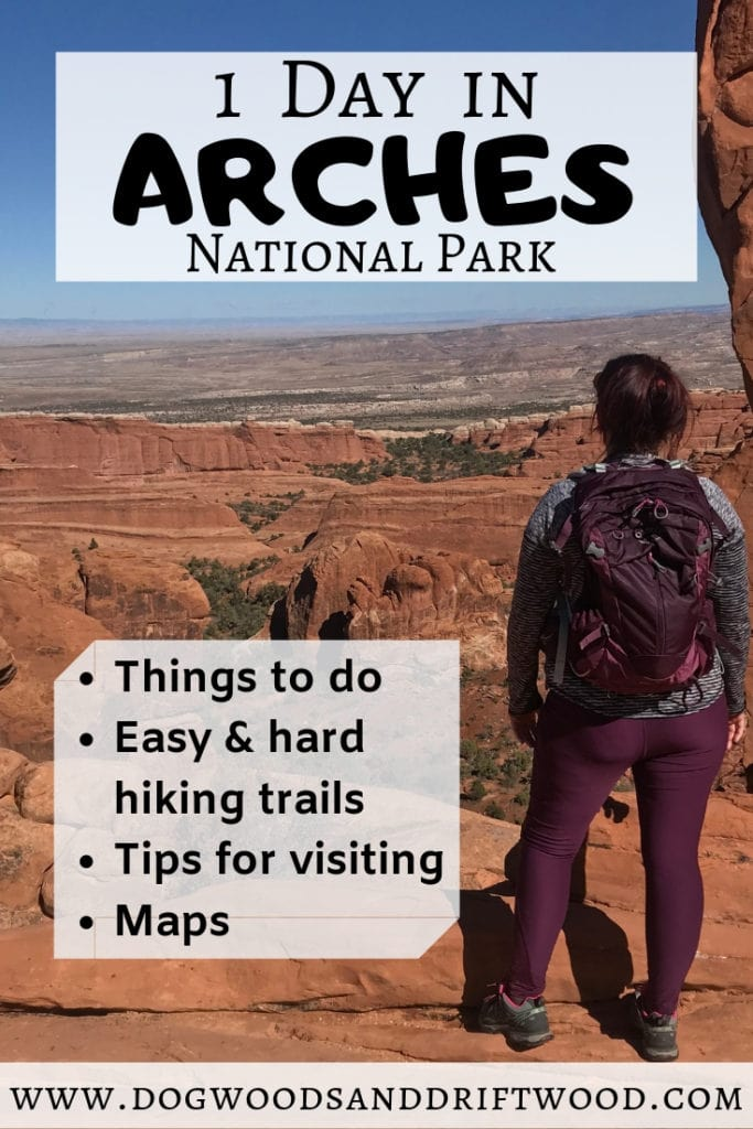 How to spend ONE day in Arches National Park. Things to do, maps, hikes, etc! This 1-day itinerary is perfect for your Utah road trip. You will want to add Arches to your US travel destination bucket list! #archesnationalpark #arches #nationalpark