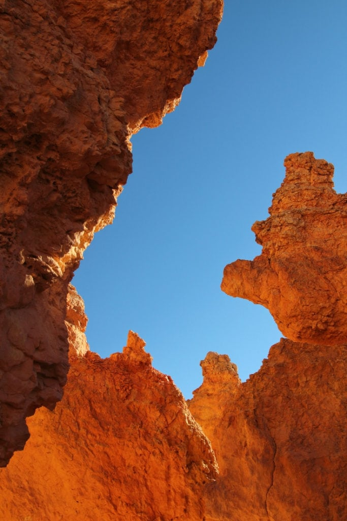 Looking up through the hoodoos on Queens Garden Trail in Bryce Canyon National Park, Utah