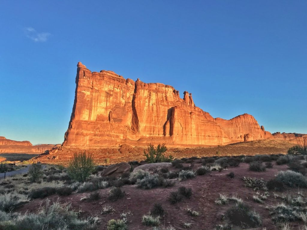 Sunrise at Courthouse Towers in Arches National Park