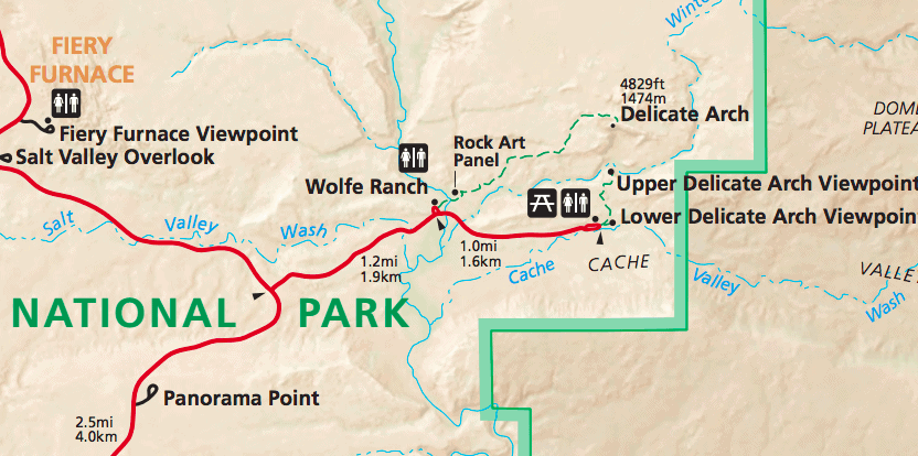 map of delicate arch road and trail