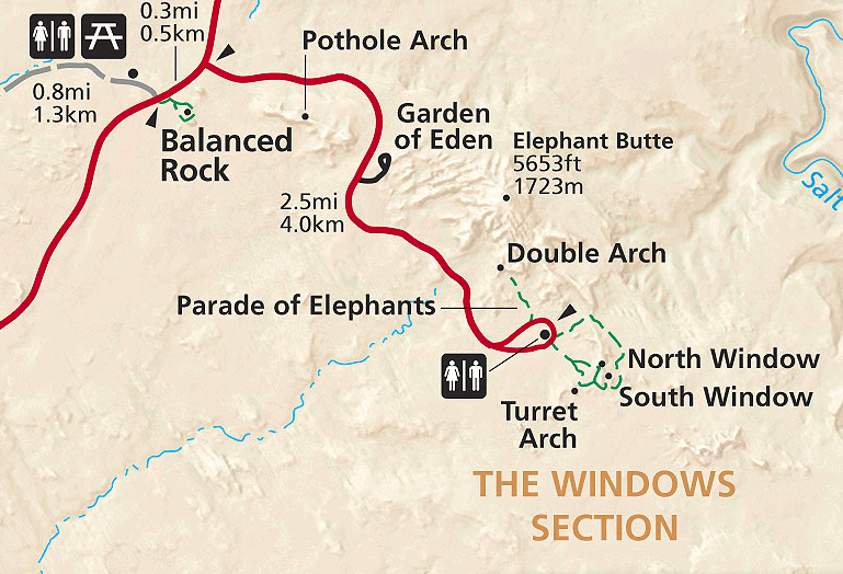 Map of The Windows Road and The Windows Loop Trail in Arches National Park, Utah