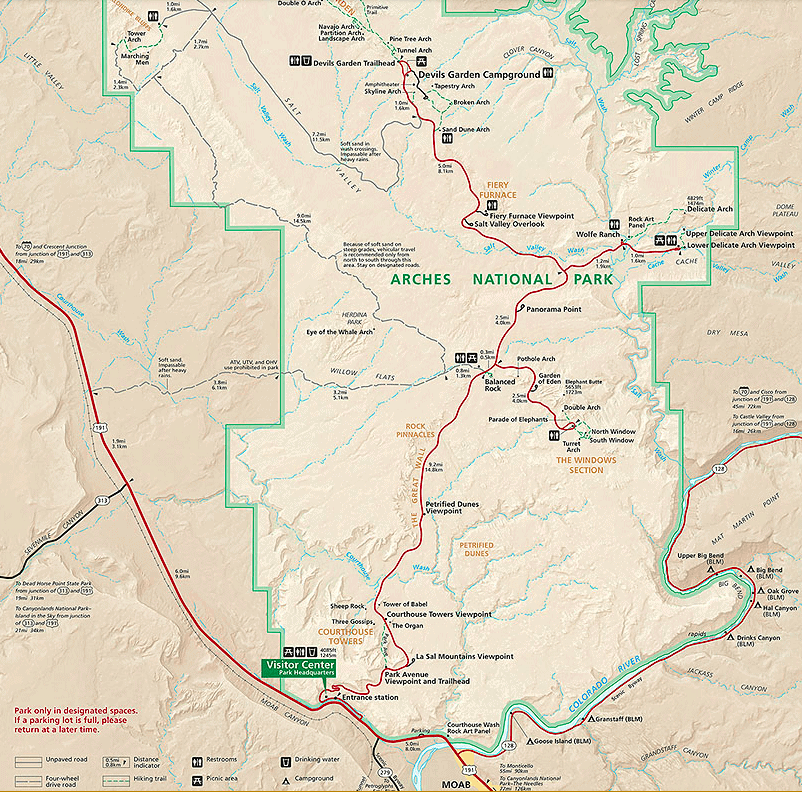 map of arches national park, utah