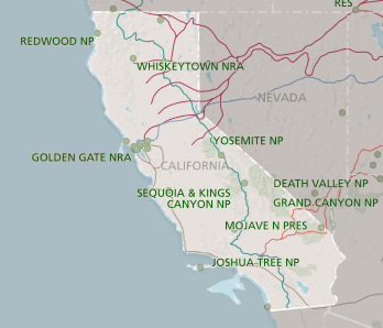 Map of California from nps.gov