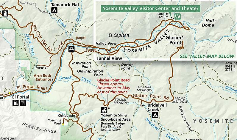 Map of Yosemite Valley from nps.gov